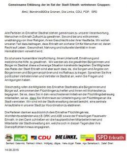 Gemeinsame Erklärung Flüchtlinge