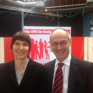 Detlef Ehlert, hier mit Hildens Bürgermeisteri Birgit Alkennings, SPD