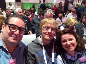 In Essen beim Wahlkampfauftakt mit dabei Britta Schicktansky, Henrik Pickardt und Toni nezi aus Hochdahl